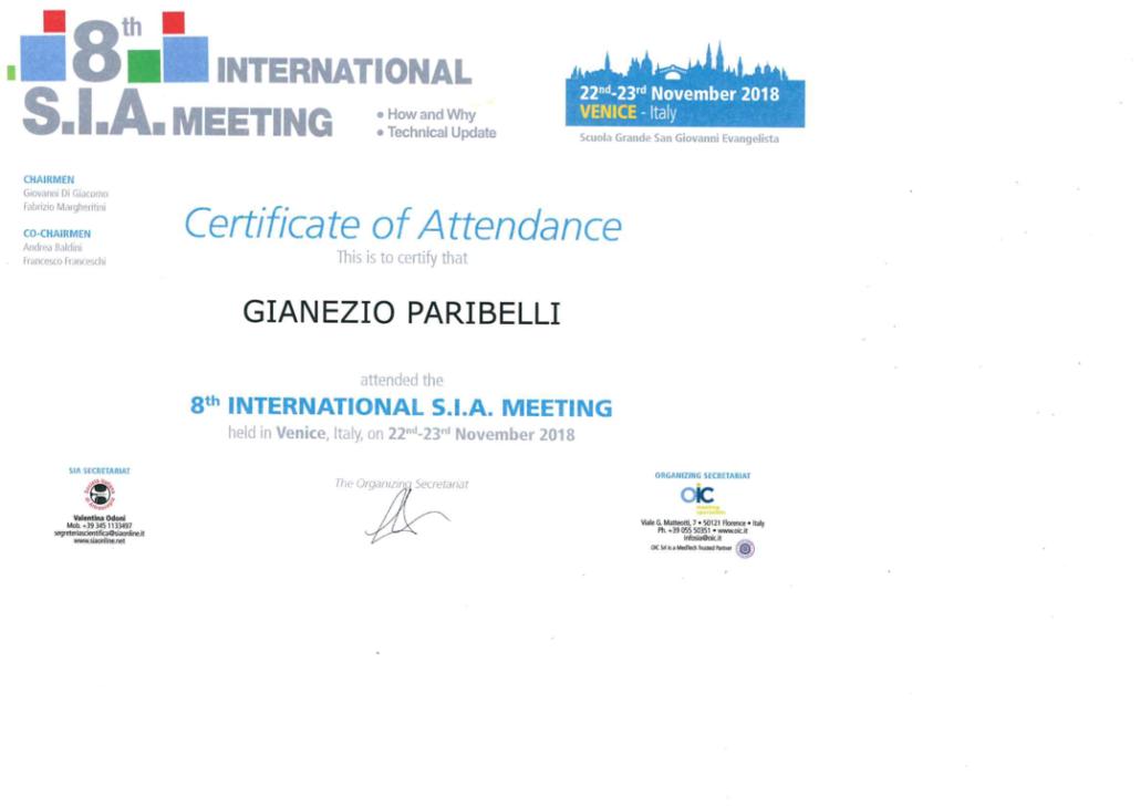 Attestati Dott. Gianezio Paribelli